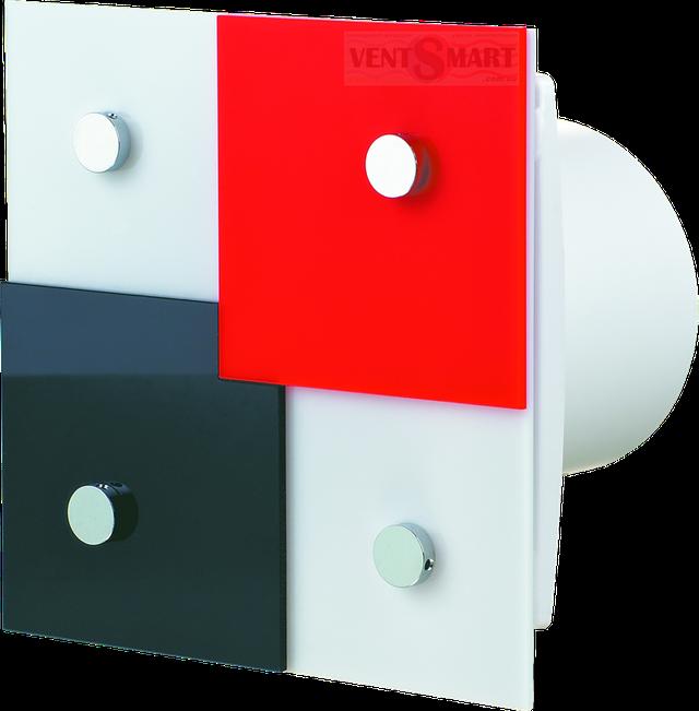 Внешний вид (фото, изображение) декоративного вентилятора Vents Domino с ярким и оригинальным дизайном. Вентилятор обладает привлекаельным и изысканным дизайном ― передняя панель декорирована разноцветными (красными, белыми и чёрными) элементами, имеет малое энергопотребление, высокую продуктивность и низкий уровень шума. Модификации Вентс 100/125/150 Домино: с реле времени (таймером задержки выключения от 2 до 30 минут).