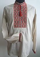 Вишита чоловіча сорочка з довгим рукавом сірий льон ВЧЛ-0416