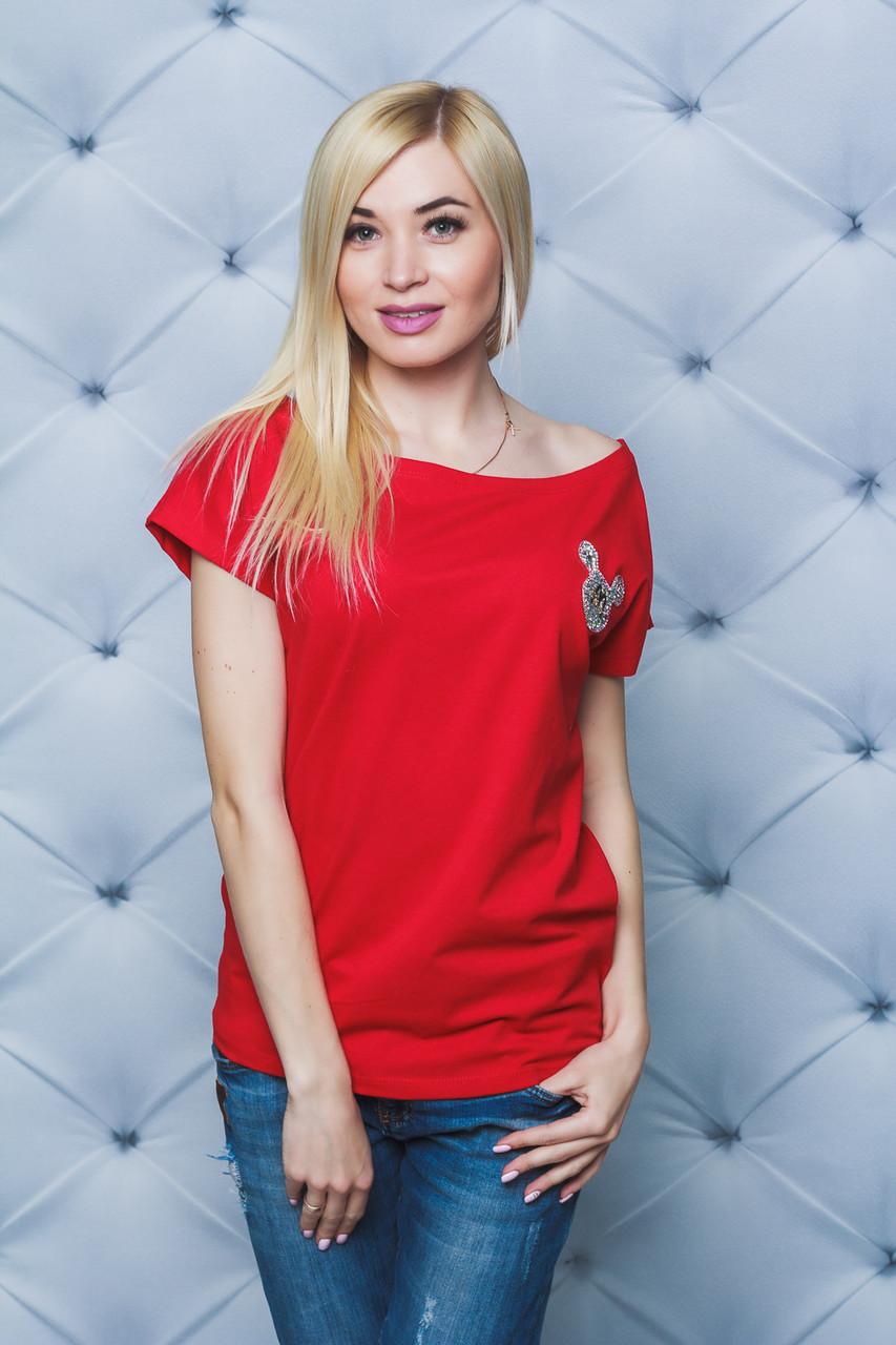 Женская футболка Микки красная