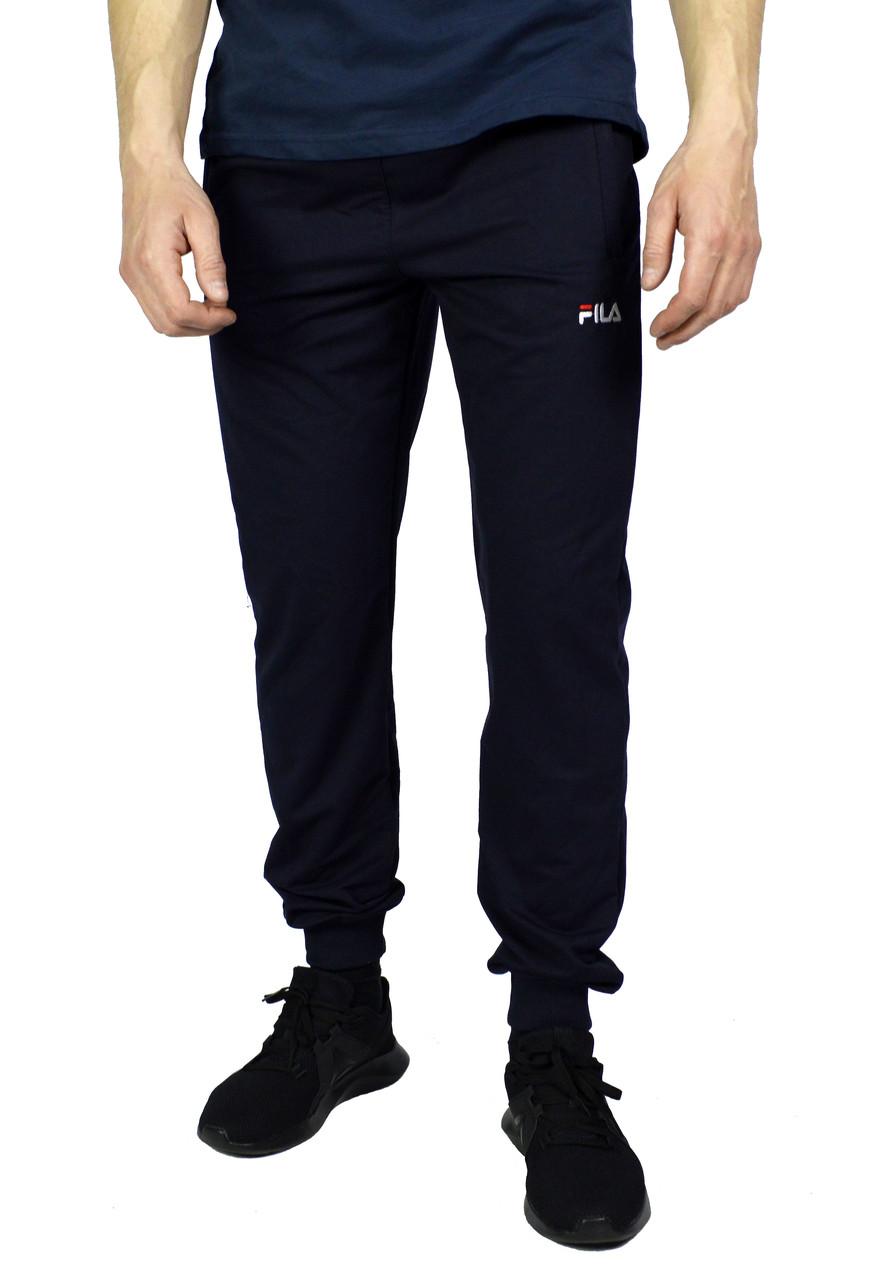 Темно-синие мужские спортивные трикотажные штаны с манжетами FILA
