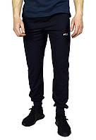 Темно-синие мужские спортивные трикотажные штаны с манжетами FILA, фото 1