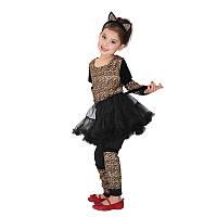 Детский карнавальный костюм для девочки, леопард 110 - 120 см, фото 1