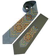 Серый галстук с вышивкой из льна в молодежном стиле «Хот», фото 1