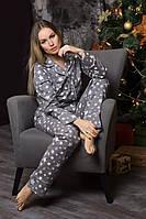 Пижама фланелевая П701 Звезды на сером