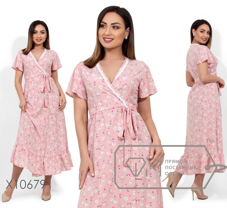 Платье-макси на запах из вискозы с короткими рукавами и кружевной отделкой на V-образном вырезе, 1 цвет
