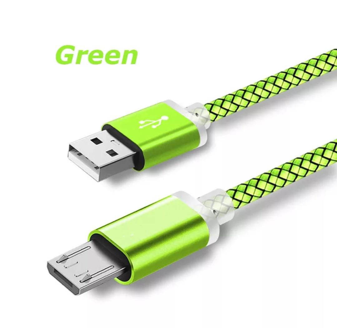 Micro USB кабель з подовженим коннектором 9 мм, усилений Салатовий