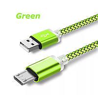 Micro USB кабель з подовженим коннектором 9 мм, усилений Салатовий, фото 1