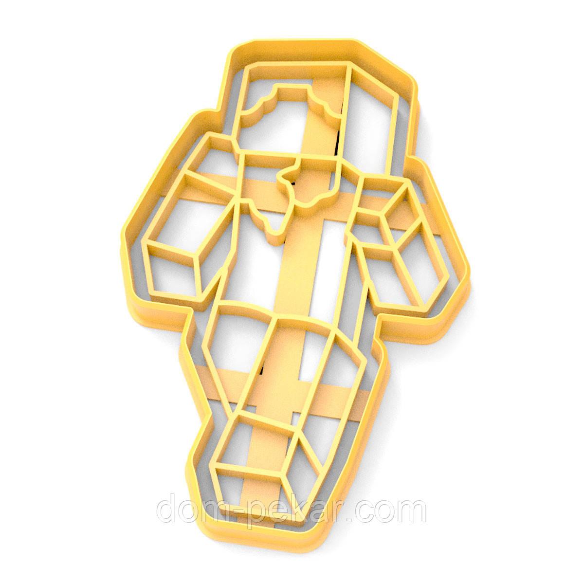 Вырубка для пряников Майнкрафт Человечек 12*7,5 см (3D)