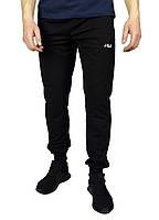 Черные мужские спортивные трикотажные штаны с манжетами FILA , фото 1