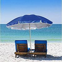 Зонт диаметром 1,7 м. Пластиковые спицы. Серебренное покрытие. Синий