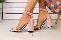 Женские замшевые босоножки стильные качественные на каблуке с открытым носком в розовом цвете, фото 1