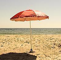 Зонт диаметром 1,7 м. Пластиковые спицы. Серебренное покрытие. Красный