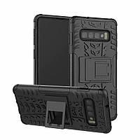 Чехол для Samsung Galaxy S10 / G973 противоударный бампер с подставкой черный