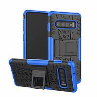 Чехол для Samsung Galaxy S10 / G973 противоударный бампер с подставкой синий
