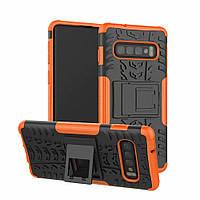 Чехол для Samsung Galaxy S10 / G973 противоударный бампер с подставкой оранжевый