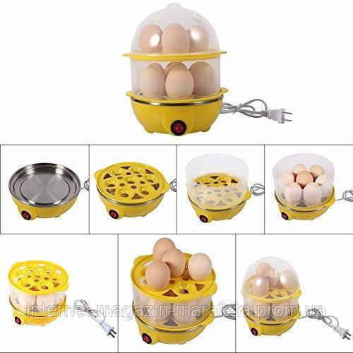 Яйцеварка электрическая, двухъярусная для варки яиц без воды Egg Cooker.