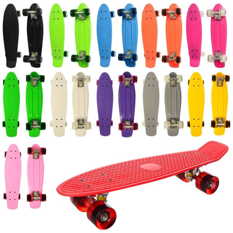 Скейт MS 0848-1 пені, алюмінієва підвіска, колеса ПУ, 6 кольорів, 2 види, в кульку, 56-15 см.