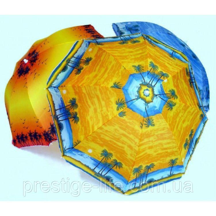 Зонт диаметром 1,7 м. Пластиковые спицы. Серебренное покрытие. Пальмы, фон Оранжевый