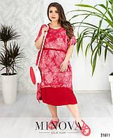 f8982bcb9d92789 Платье летнее из комбинированных тканей Большого размера штапель Красный