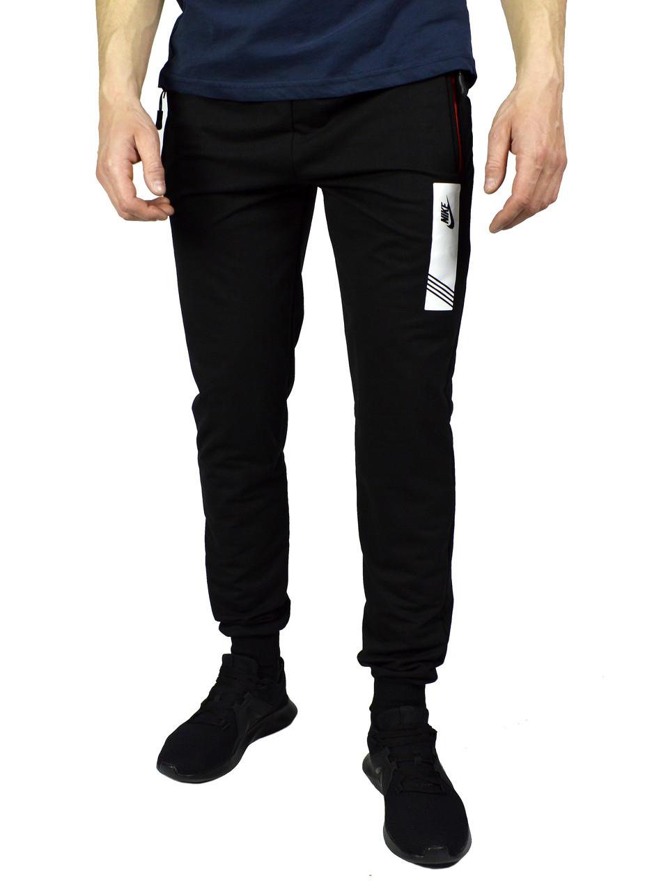 Черные мужские спортивные трикотажные штаны с манжетами NIKE