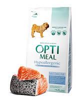 """Optimeal """"Лосось"""". Пакет. Сухой, гипоаллергенный корм, для собак средних пород. 1.5кг."""