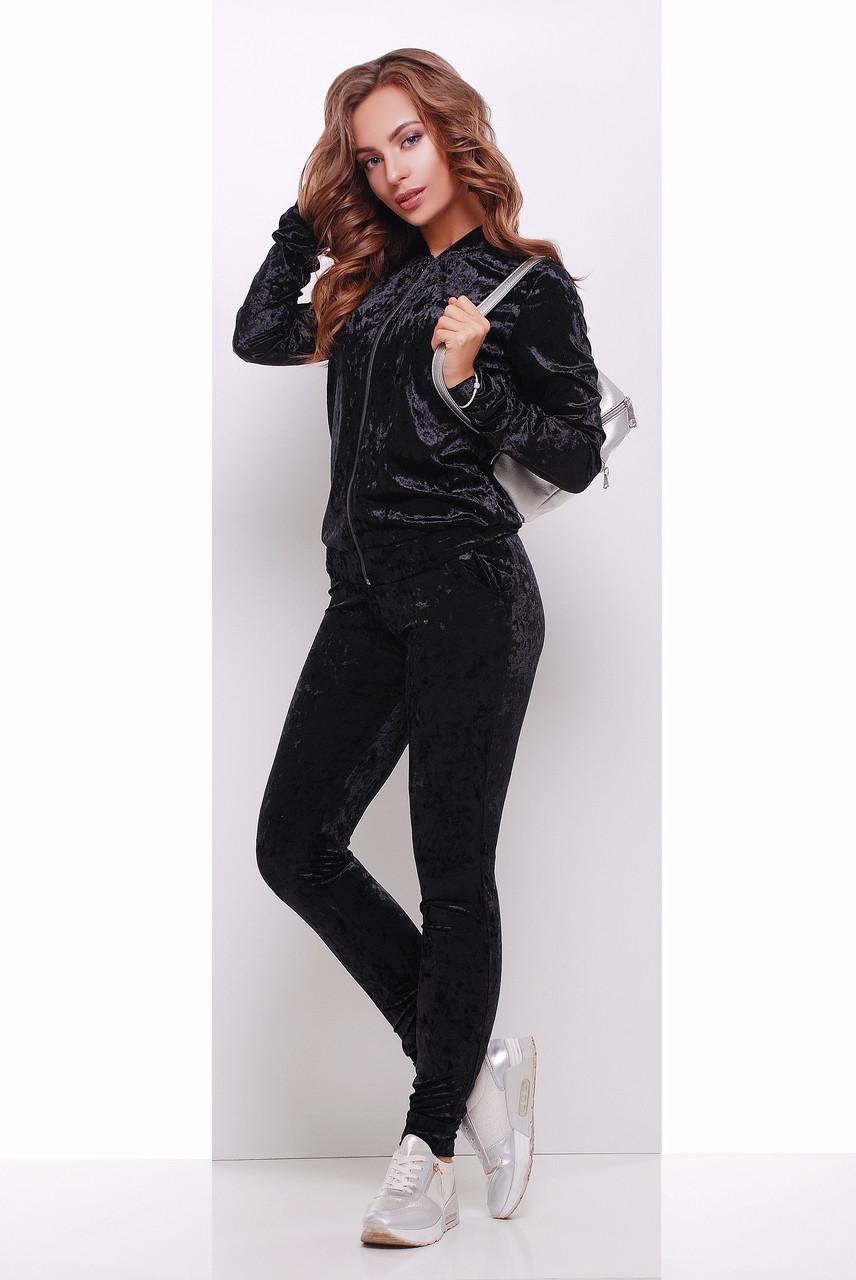 Стильний жіночий велюровий костюм повсякденний з кофтою на змійці і штанами чорний