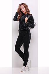 Стильный женский повседневный велюровый костюм с кофтой на змейке и штанами черный