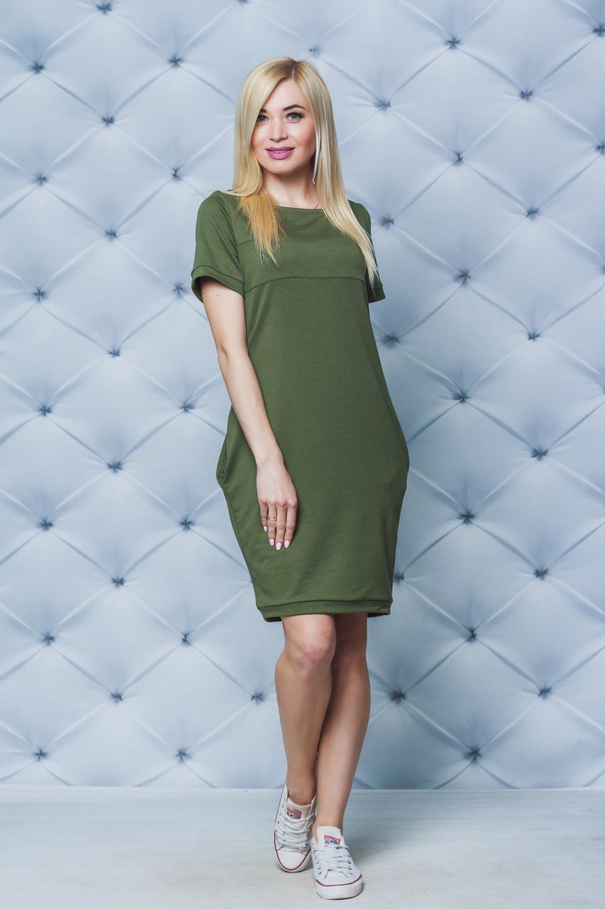 Женское трикотажное платье хаки