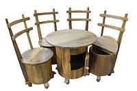 Стол и 4 стула комплект мебели деревянный BST 530275 натуральное дерево