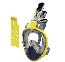 Маска для плавання та сноркелінгу на все обличчя TheNice F2 EasyBreath-III з кріпленням для камери L/XL Жовтий