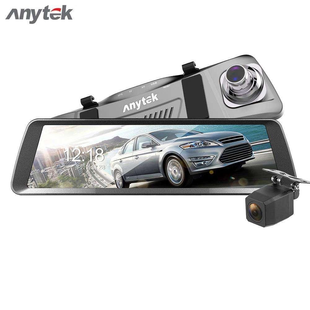 Видеорегистратор-зеркало Anytek T90 полный экран 9.88 двойной объектив, регистратор в авто DVR, Подарок
