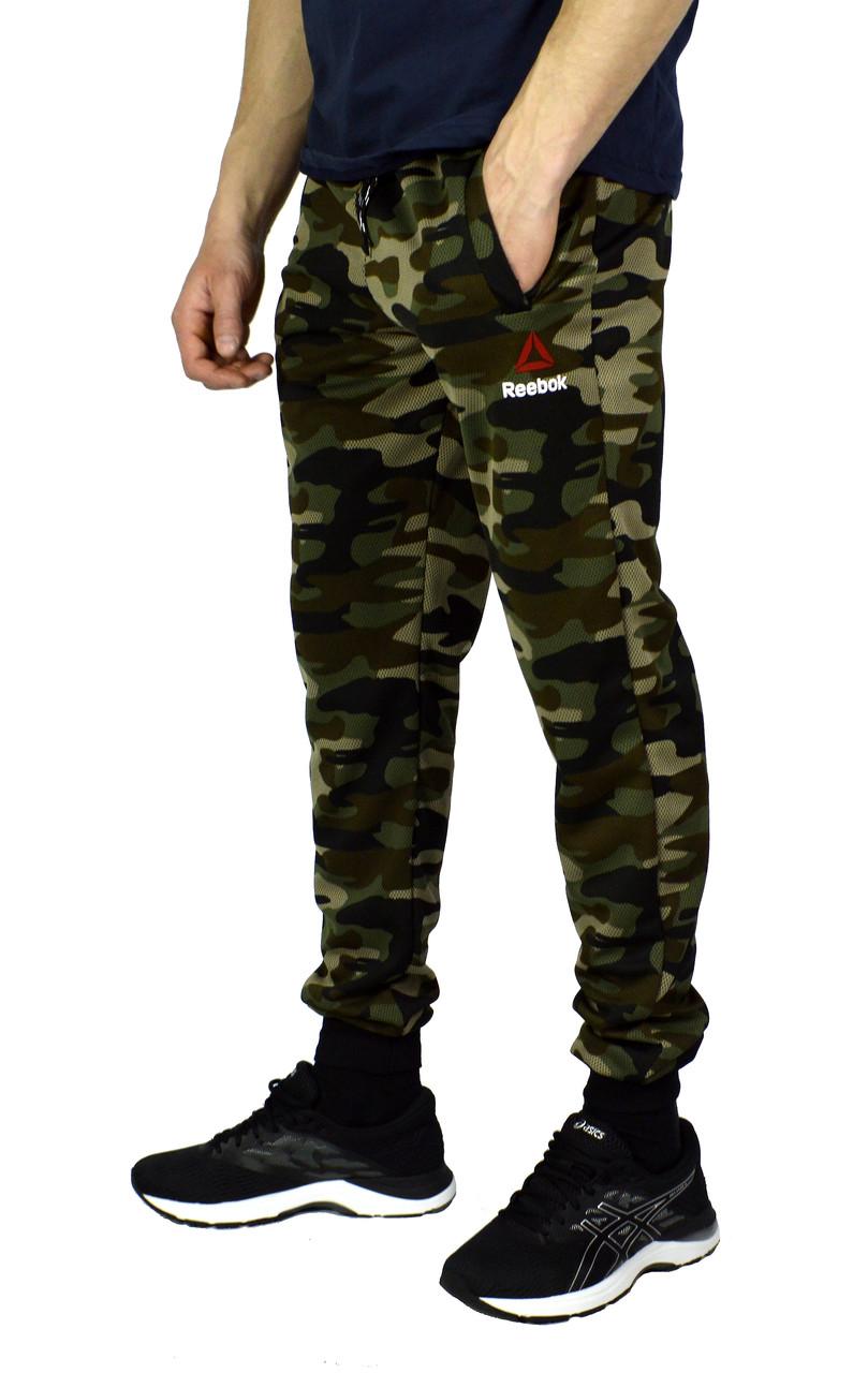 Камуфляжные мужские спортивные трикотажные штаны с манжетами REEBOK