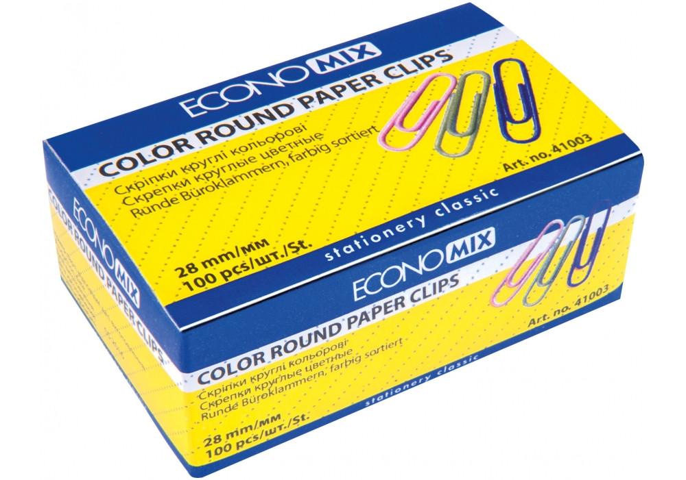 Скріпки округлі Economix; 28 мм / 100 шт, кольорові