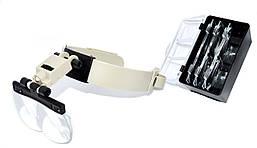 Лупа бинокулярная MG81003 налобная с Led подсвет., 2Х 3,8Х 4,5Х 5,5Х