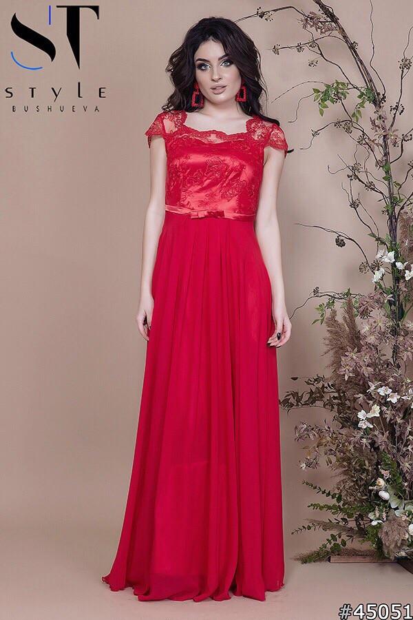 Длинное вечернее платье с шифоновой юбкой (р.42-46)