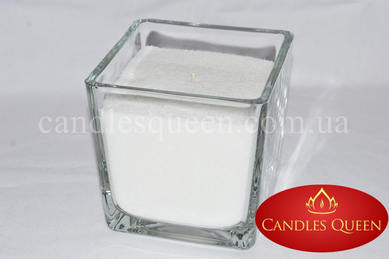 Подсвечник стеклянный куб 10 см