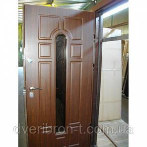 Входная дверь Форт Премиум Классик + стеклопакет с ковкой орех коньячный 960х2050, фото 2