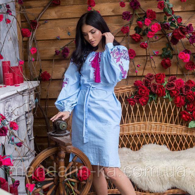 Платье женское голубое вышитое Жар Птица в этно-стиле