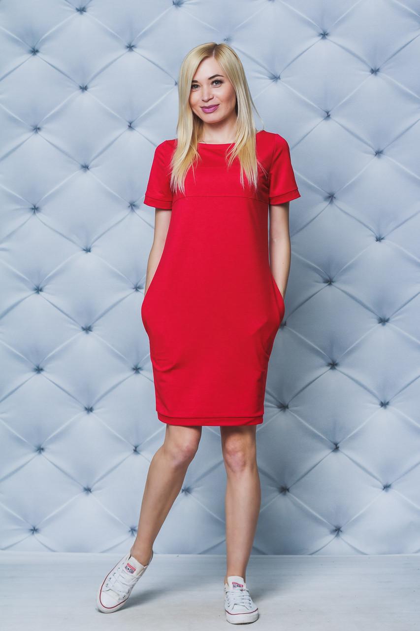 Женское трикотажное платье красное