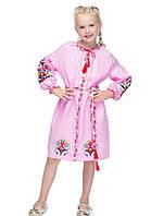 """Платье для девочки лен """"Яскраві півні"""" розовое"""