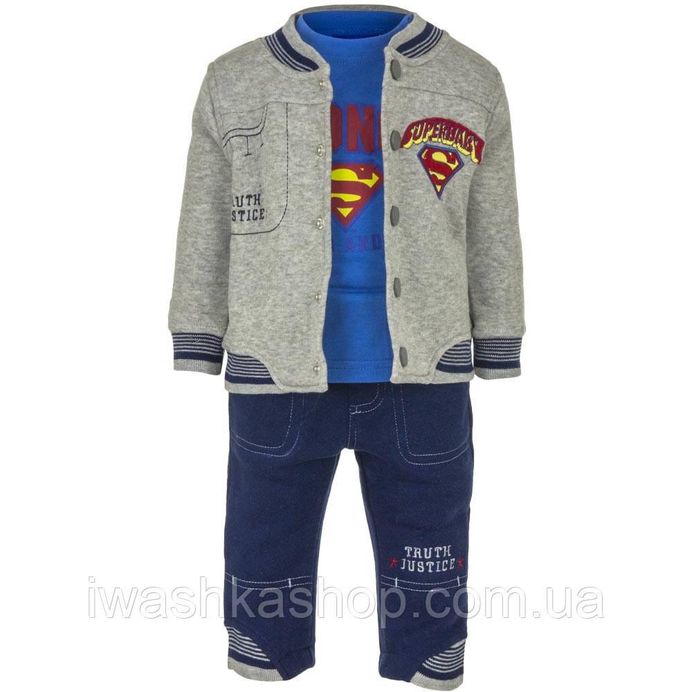 Утеплений костюм на хлопчика, бомбер, лонгслив, штани, р. 86 на 23 місяці, Warner Brothers / Superbaby