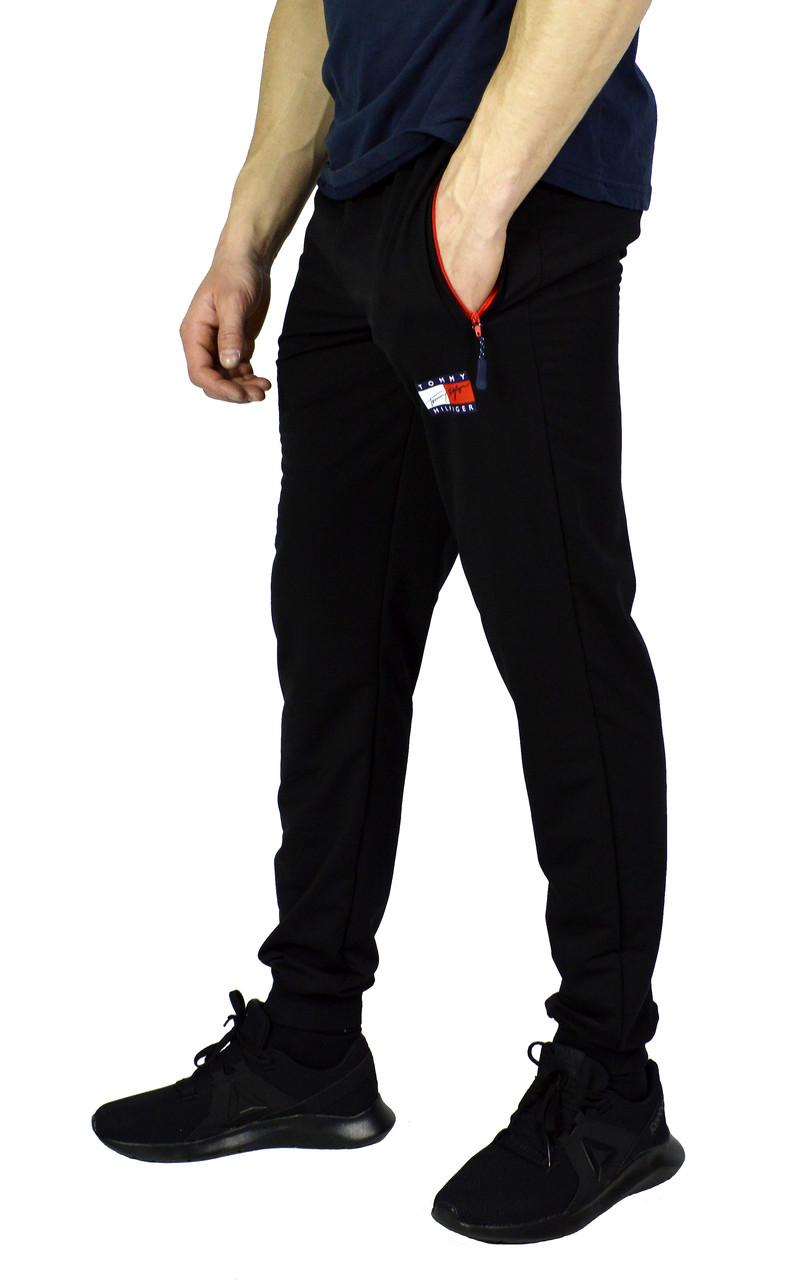 Черные мужские спортивные трикотажные штаны с манжетами TOMMY