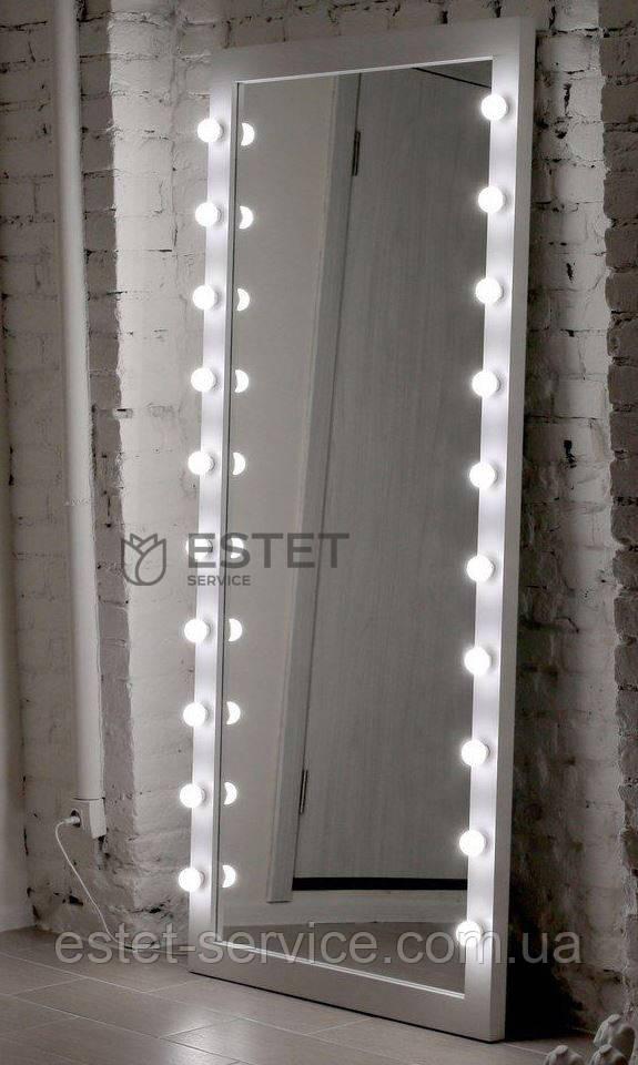 Зеркало в раме с подсветкой по боках в полный рост
