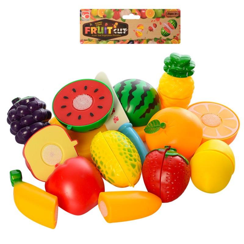 Продукти 9006-3 на липучці, фрукти, 9 шт., дощечка, ніж, в кульку, 20-27-6 см
