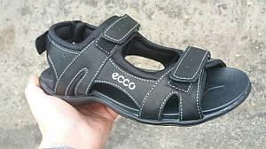 Летние мужские туфли сандалии из натуральной кожи на липучке LETO