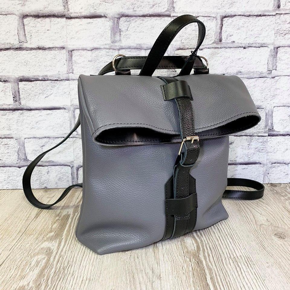 "Женский кожаный Рюкзак-сумка ""Bonnie"" серый флотар"