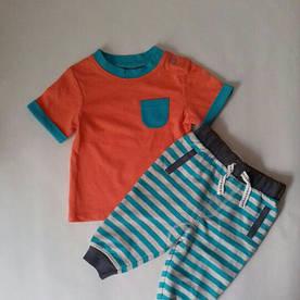 Детский костюм оранжевая футболка и штаны в полоску Tu (Англия) р.62/68 (3-6мес.)