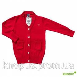 Вязаный кардиган для девочки красный, Girandola, размер 98