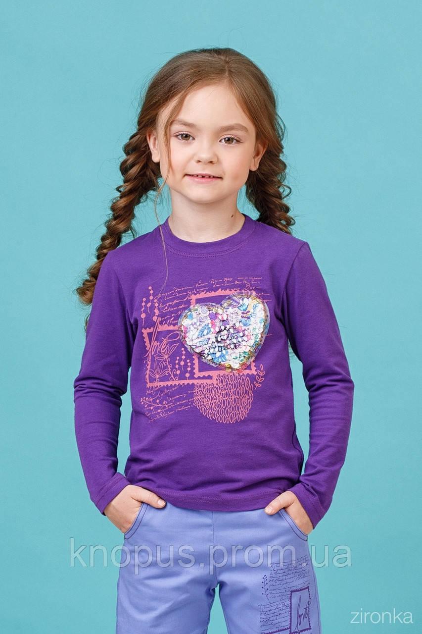 Нарядный джемпер для девочки фиолетовый, Зиронька, размері 98-110