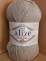Летняя пряжа (50%-хлопок,50%-акрил) Alize cotton  beby soft 543 (кофе с молоком)